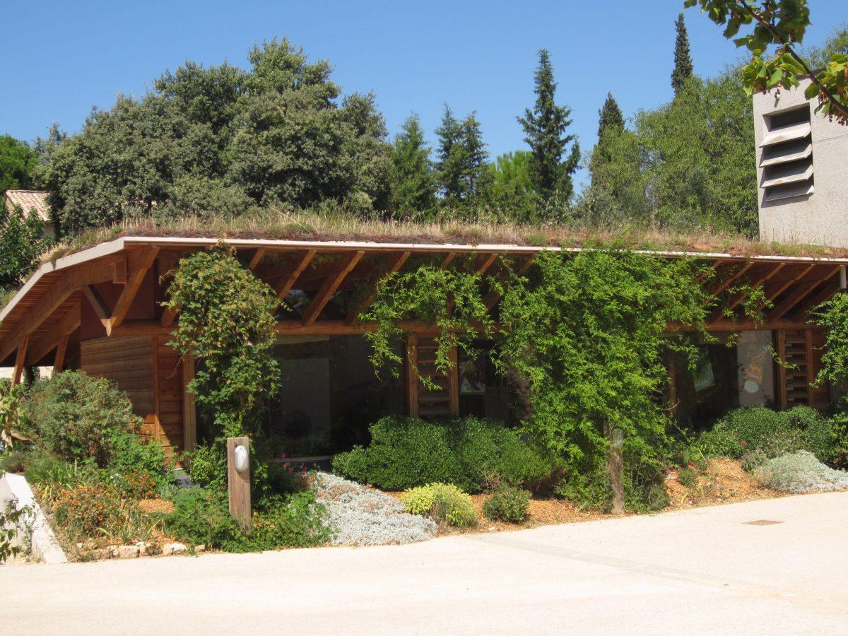 façade des bureaux du Naturoptère : la végétation colonise les chaînes de pluie