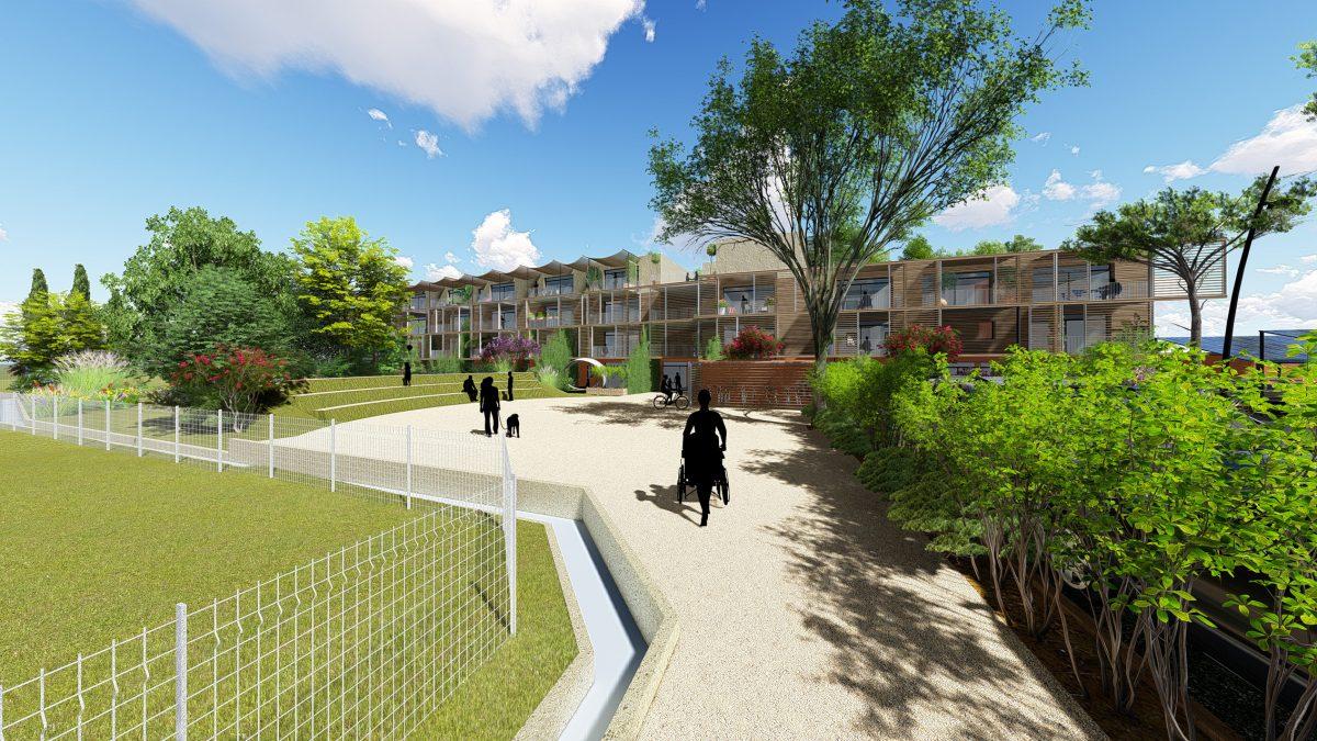 le cheminement vers les logements - habitat participatif Etoilie