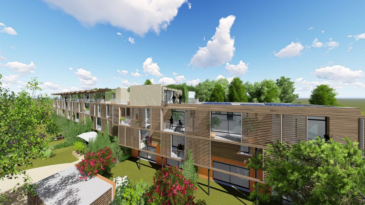 vue de près façade sud, logements Etoilie